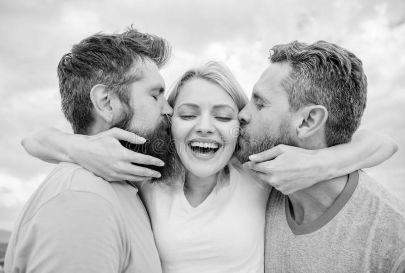 Everything you should know avoid friend zone start dating. Men kiss same girl in cheeks. She likes male attention. Girl. Hugs with two guys. Friendly royalty free stock photos