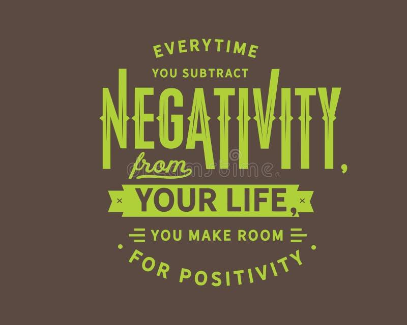 Everytime ty odejmujesz negatywnościa od twój życia, ty robisz pokojowi dla positivity ilustracja wektor