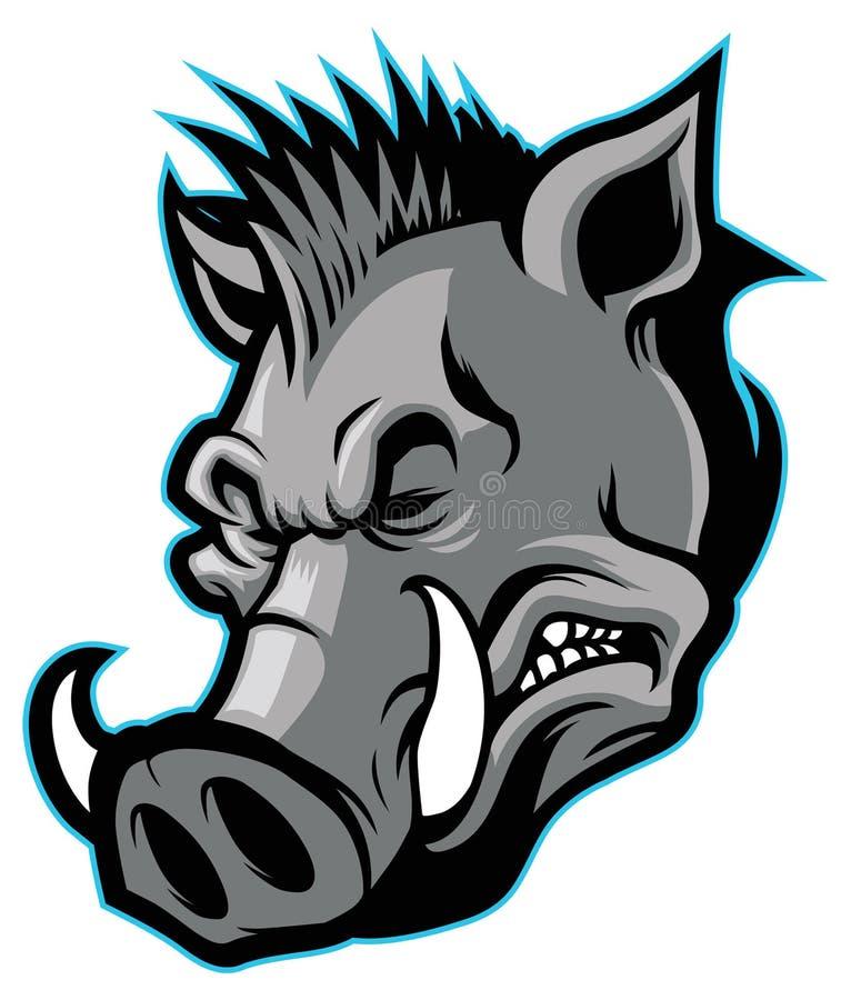Everzwijn hoofdmascotte stock illustratie