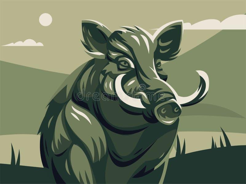 Everzwijn met slagtanden royalty-vrije illustratie