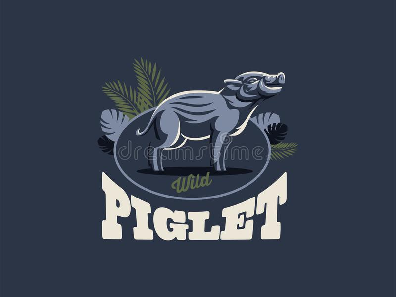 Everzwijn met slagtanden stock illustratie