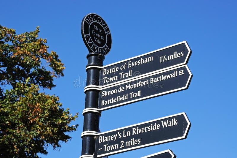 Evesham tourist information sign. stock photos