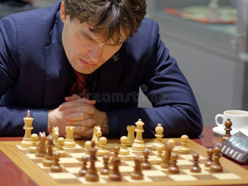 Evgeny Romanov i toppen-finaler av den ryska schackmästerskapet fotografering för bildbyråer