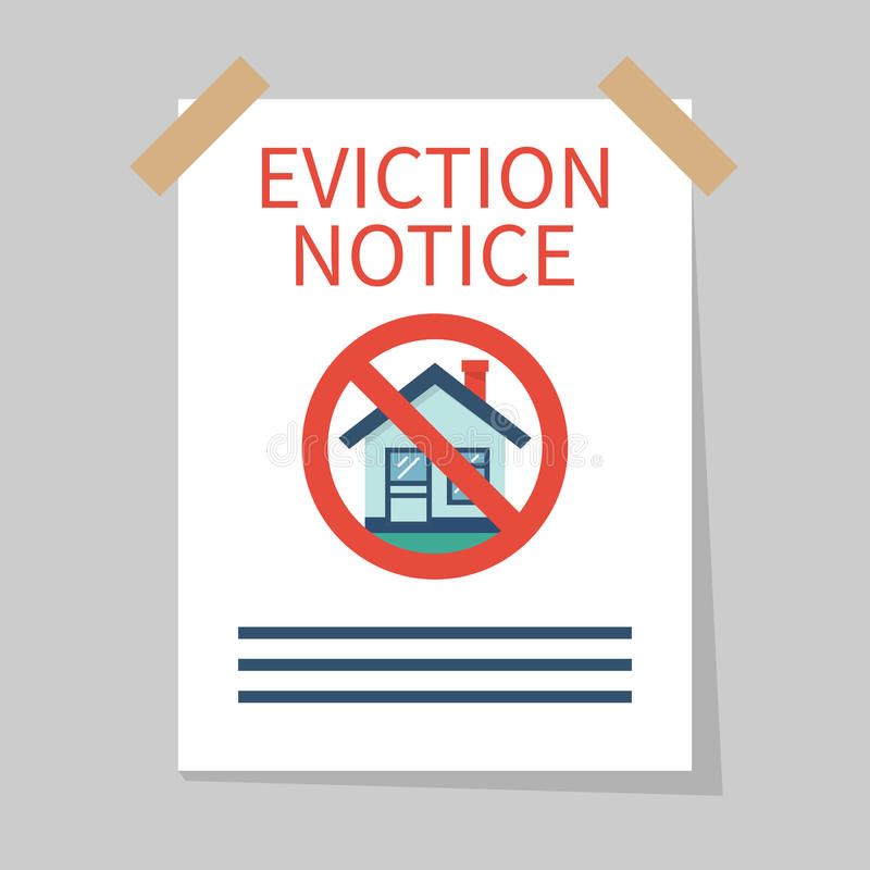 Eviction notice, vector. Eviction notice, white sheet on wall. Stop sign at the entrance. Do not open the door. Form vector illustration flat design. Isolated stock illustration