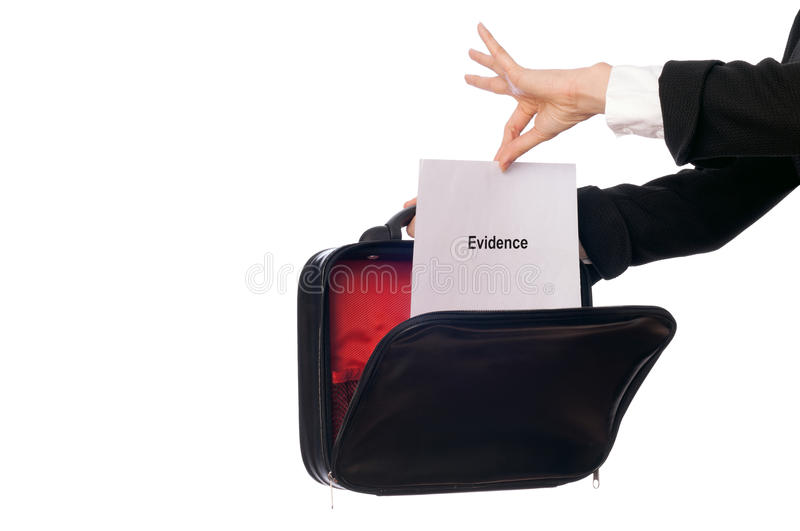 Evidence. Investigator examines in details the materials of evidence reported by advocate royalty free stock photography
