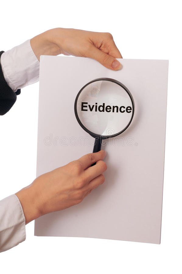 Evidence. Investigator examines in details the materials of evidence reported by advocate royalty free stock photos