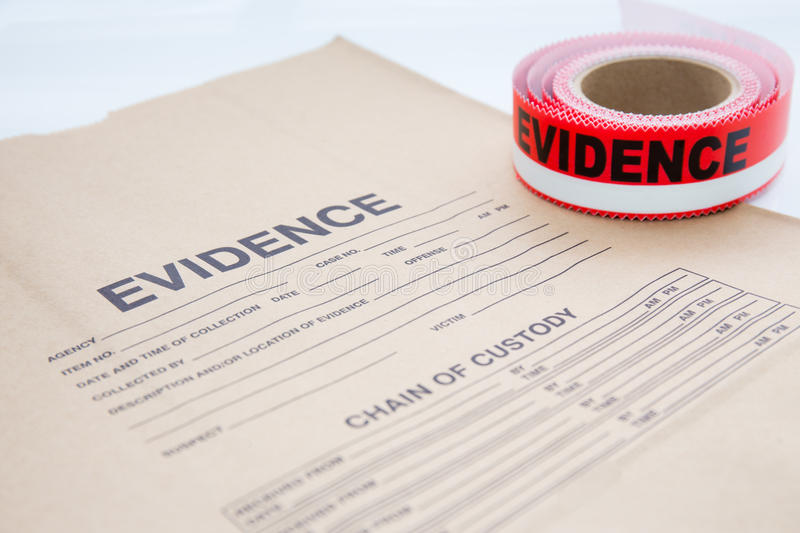 Evidence bag with evidence sealing tape for crime scene royalty free stock photos