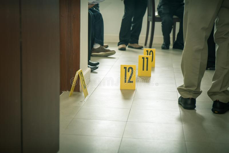 Evidence marker with law enforcement background royalty free stock photo