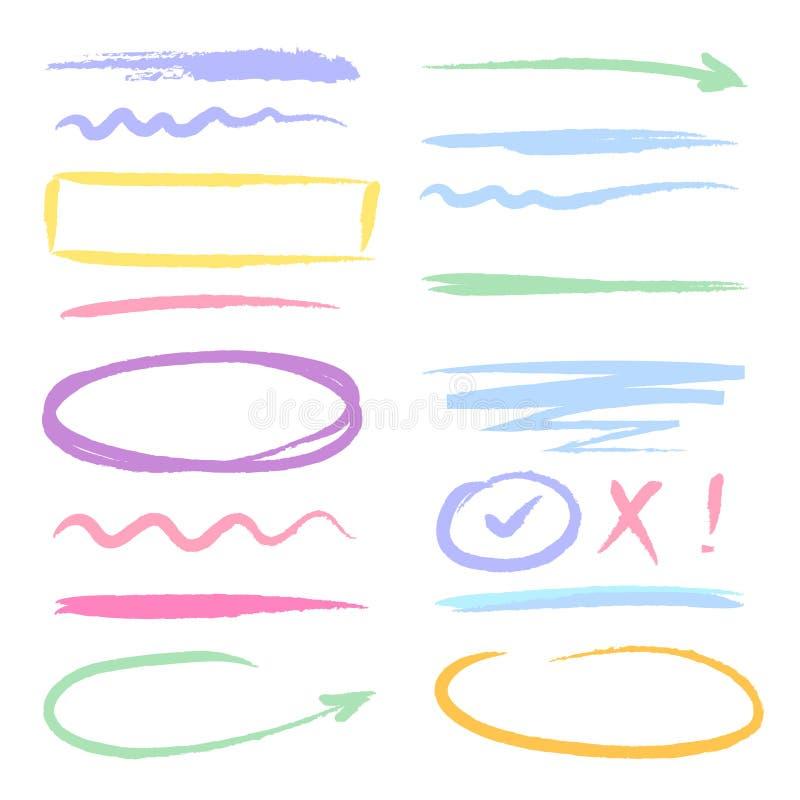 Evidenziatori di rosso dell'indicatore forme disegnate a mano dello scarabocchio dell'inchiostro della spazzola illustrazione vettoriale