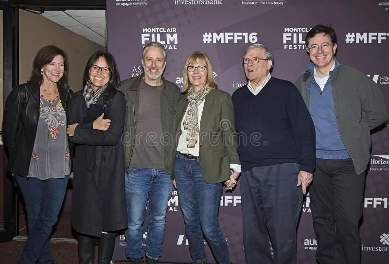 Evie Colbert, Tracey Stewart, Jon Stewart, Chris Hegedus, D a Pennebaker, et Stephen Colbert images stock