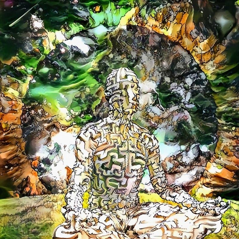 Evig meditation stock illustrationer