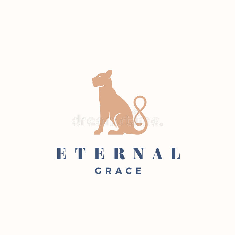 Eviga Grace Abstract Vector Sign, emblem eller Logo Template Kontur för Gracefull sammanträdelejoninna med oändligheten vektor illustrationer