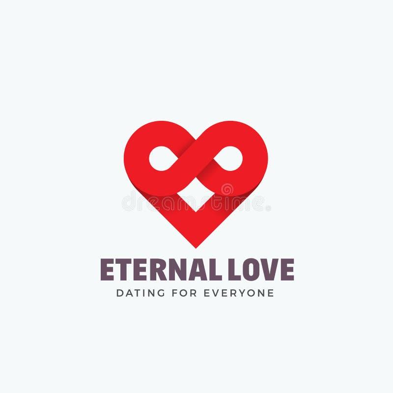 Evigt tecken, emblem eller Logo Template för förälskelseabstrakt begreppvektor Blandning för oändlighetssymbol- och hjärtasymbol  vektor illustrationer