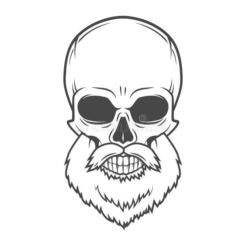 Evil Bearded Jolly Roger logo template. Old biker vector illustration