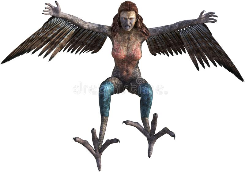 Evil Bird Woman, Monster, Isolated. Evil female woman bird monster, beast, creature. The mythical animal if flying and ready to attack its next victim. Isolated stock illustration