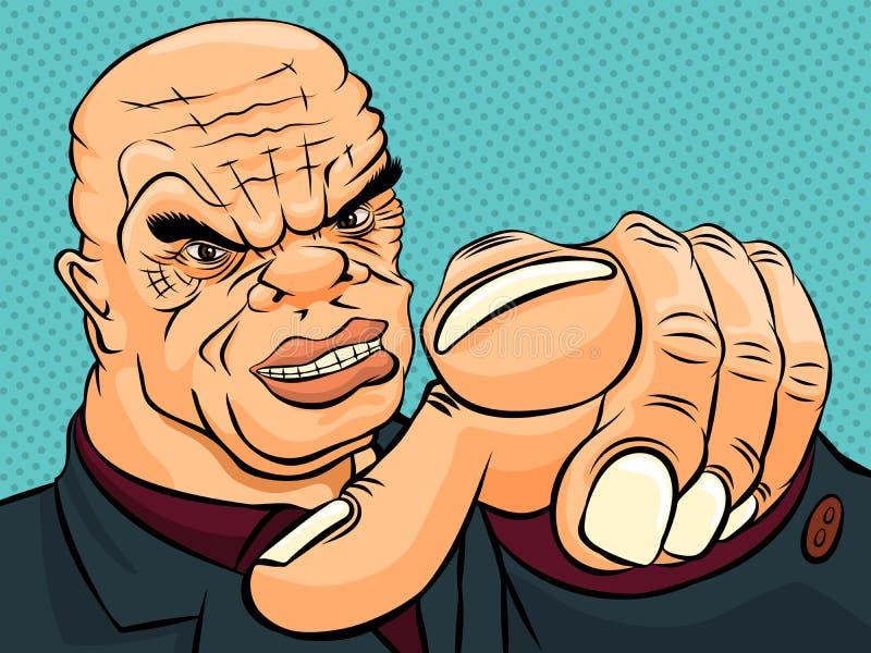 Evil boss pokes his finger. Retro style pop art vector illustration