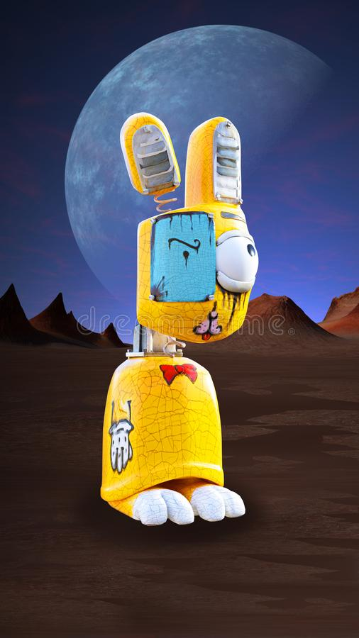 Evil Bunny Rabbit Wallpaper background. An evil surreal bunny rabbit wallpaper for your mobile phone. A mechanical tin toy stands in an alien desert landscape stock photos