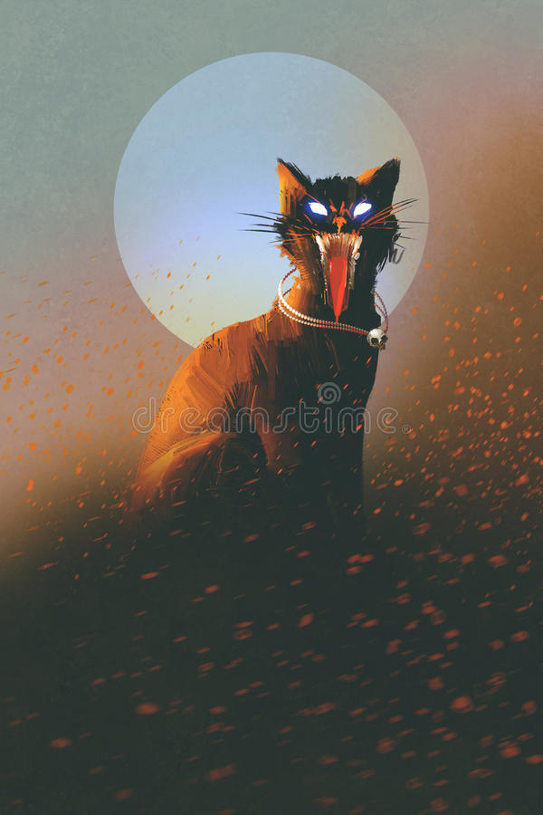 Evil cat on a background of the moon stock illustration