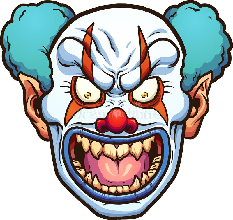 Evil clown. Evil cartoon clown head. Vector clip art illustration with simple gradients. All in a single layer vector illustration