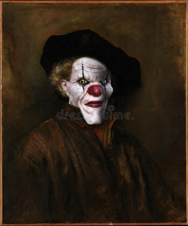 Evil Clown, Rembrandt Surreal Oil Painting. An evil clown face is used to spoof a Rembrandt art oil painting. Surreal self portrait of an artist turns into fun stock image