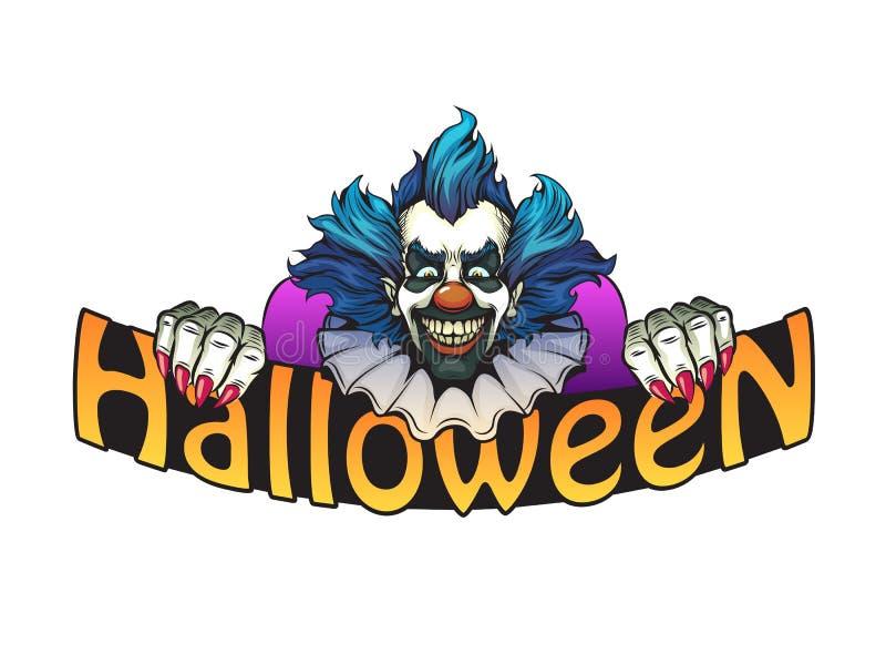 Evil clown halloween illustration stock image