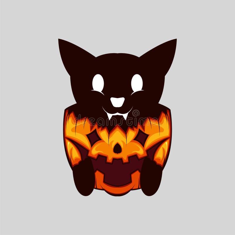Evil Cut Black Cat on Halloween Pumpkin stock photo