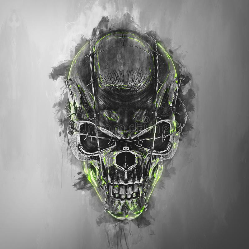 Evil demon skull - barb wire. Green glow vector illustration