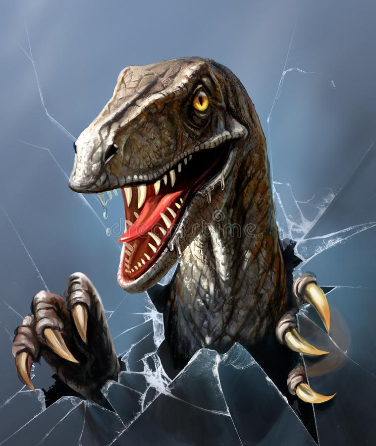 Evil dinosaur breaks through the glass, close-up. Dinosaur with open toothy mouth and drool, jumping through glass vector illustration