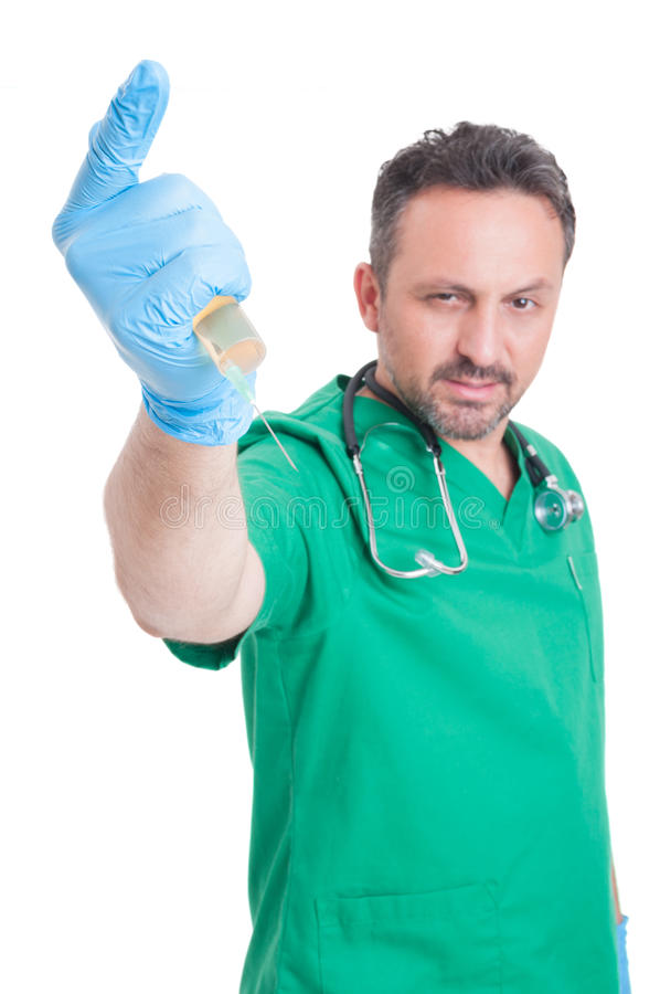 Free Evil Doctor Ready To Stab With Syringe Stock Images - 56444274