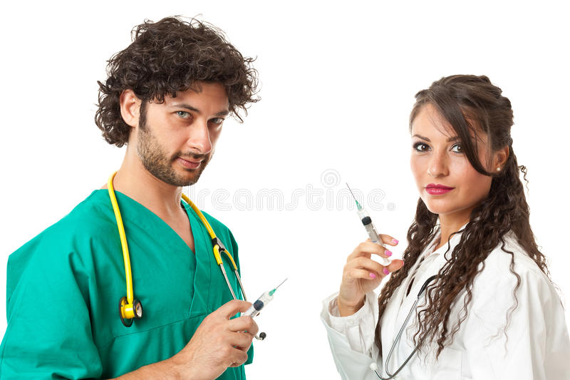 Evil doctors royalty free stock photography