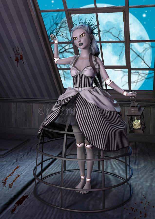 Psycho evil doll in an attic. stock illustration