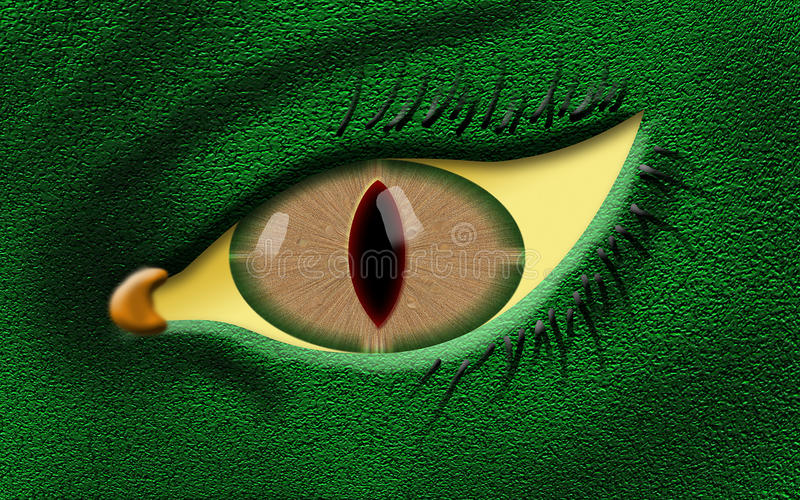 Evil dragon eye with green skin color stock illustration