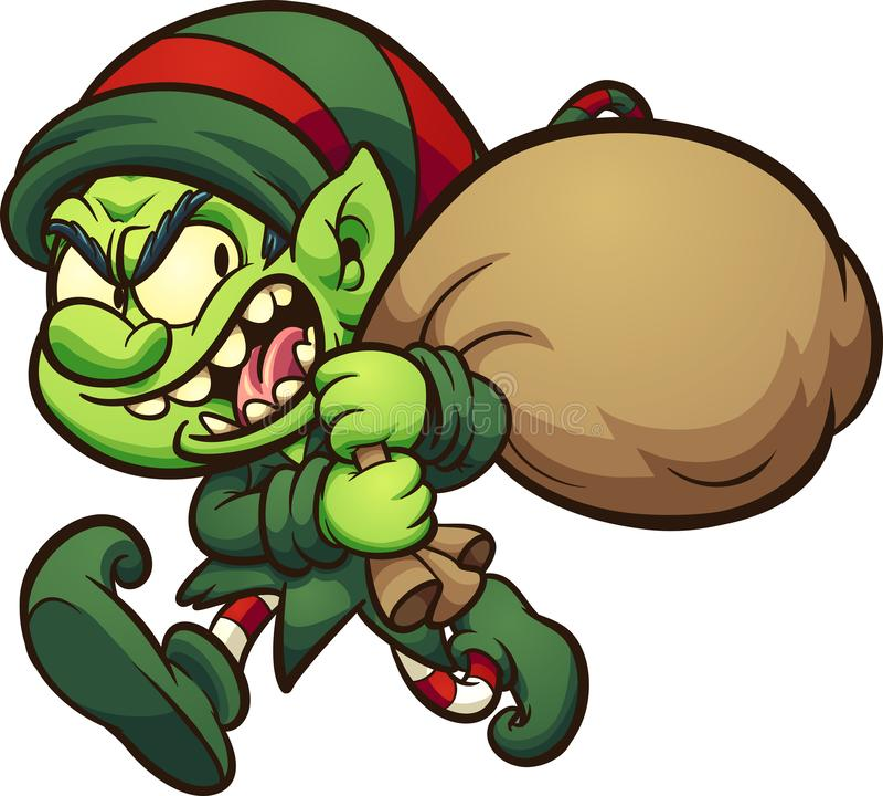 Evil cartoon Christmas elf stealing presents royalty free illustration