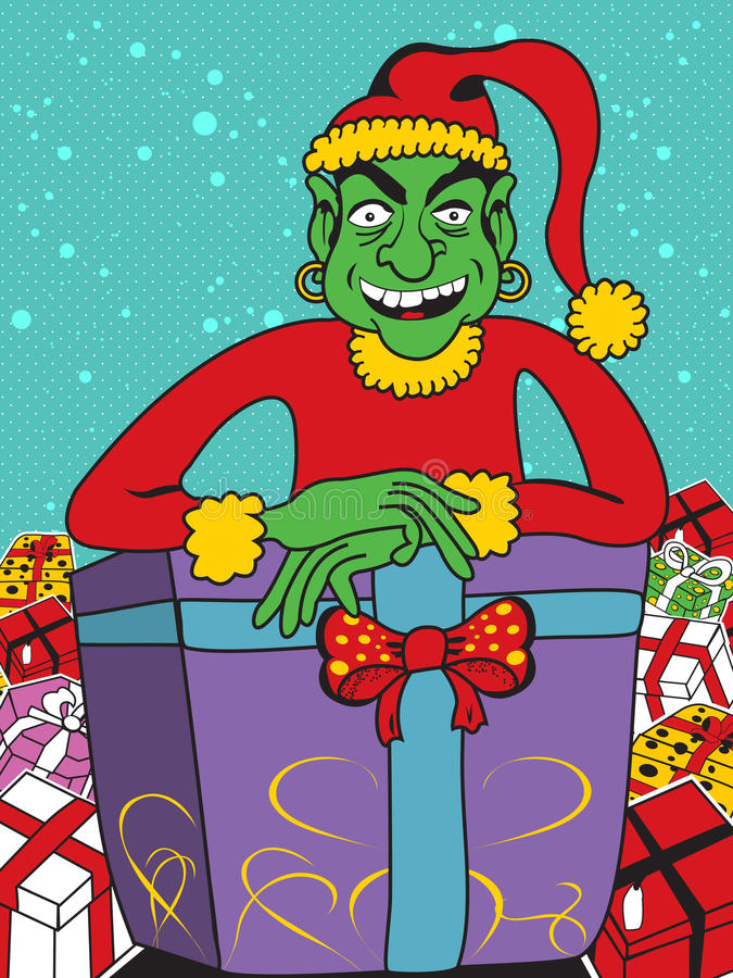 Evil elf with gifts. Vector illustration of an evil elf with lots of different gifts vector illustration