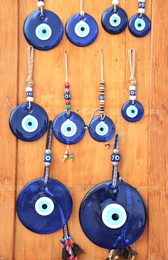 Evil eye charms, traditional turkish souvenirs, Turkey. Glass mascots - evil eye charms, traditional turkish souvenirs, Turkey royalty free stock image