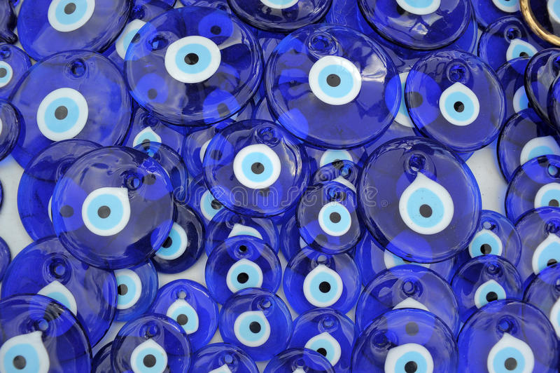 Evil Eye Charms in Turkish Bazaar. Evil eye charms in Cappadocia, Turkey stock images