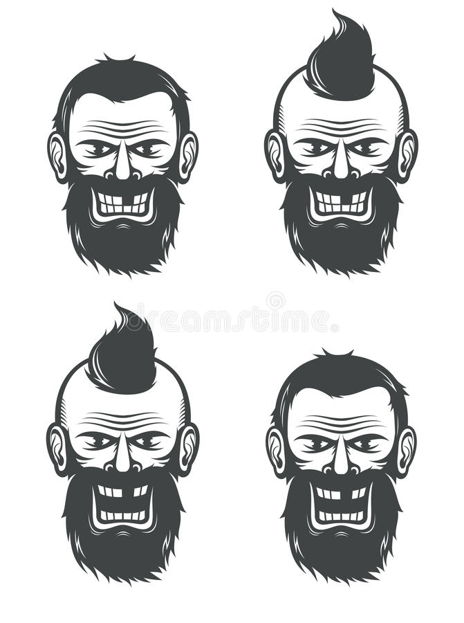 Evil face of a bearded man royalty free illustration