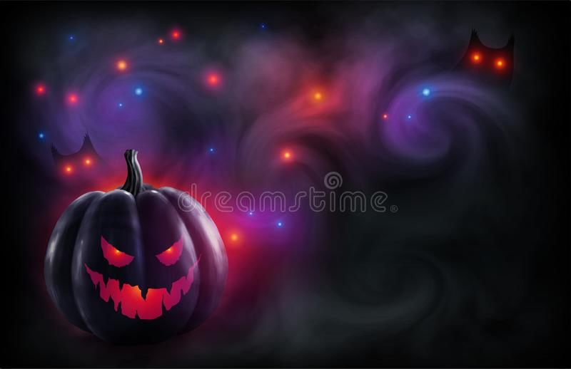 Evil face black pumpkin on mystic red and violet backdrop with magic lights and owl eyes in fog. Vector Halloween poster stock illustration