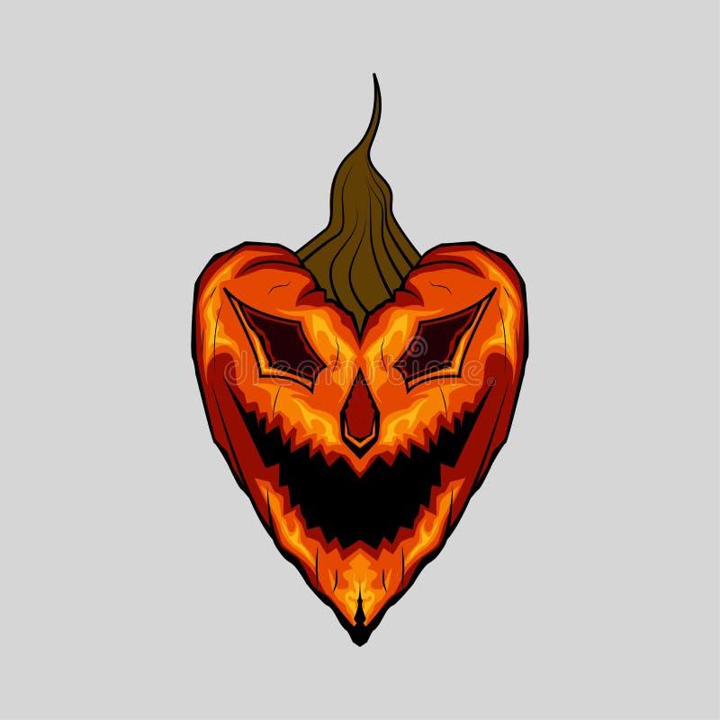 Evil Face Pumpkin Halloween Heart royalty free stock photo