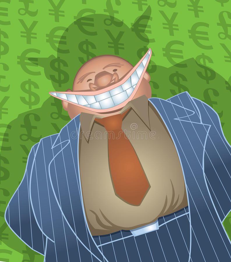 Evil Fat Banker. This banker is smiling because part of his bank's federal bailout just went into his pocket as a bonus. Credit unions will love this retro stock illustration