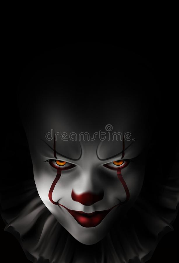 Evil gloomy clown. On a black background royalty free illustration