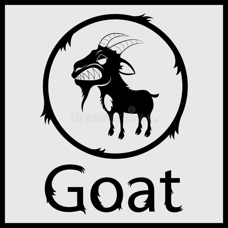 Evil Goat. Angry black goat vector evil stock illustration