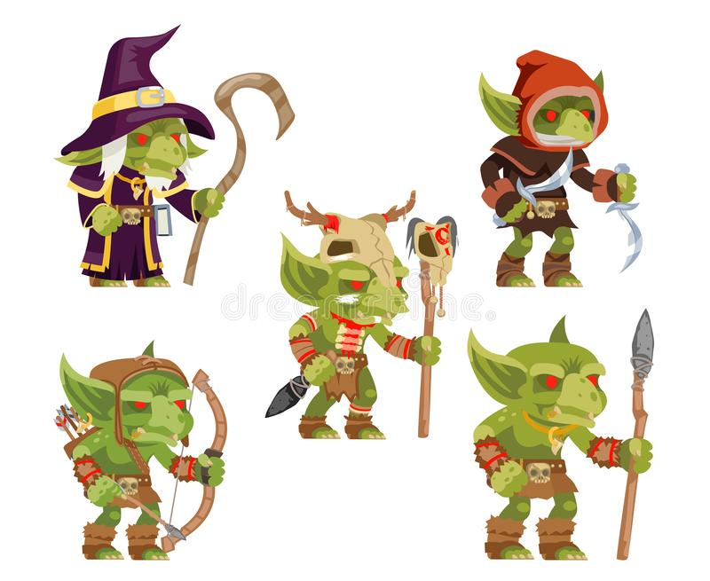 Evil goblins pack dungeon dark wood tribe monster minion army fantasy medieval action RPG game characters isolated icons. Evil goblins pack dungeon dark wood royalty free illustration