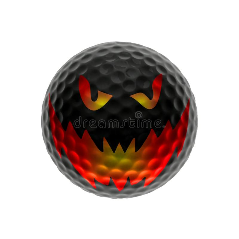 Evil golf-ball. Evil demoniac golf-ball isolated over white - halloween concept royalty free illustration