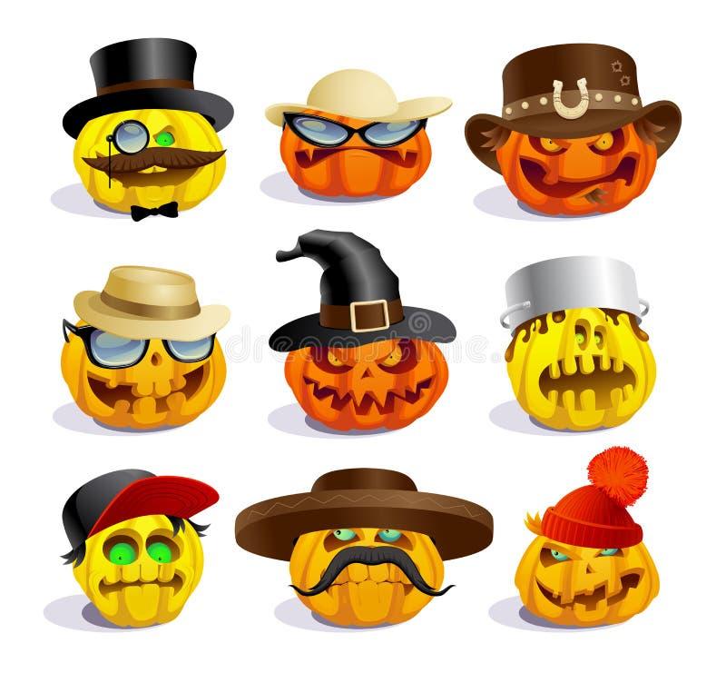 Evil halloween pumpkins, cartoon personages, crazy pumpkin symbols set. Different hats royalty free illustration