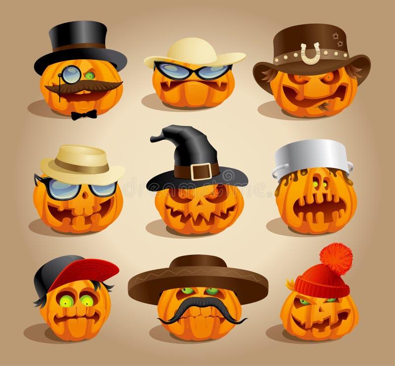 Evil halloween pumpkins set, cartoon personages, crazy pumpkin symbols set. Different hats vector illustration