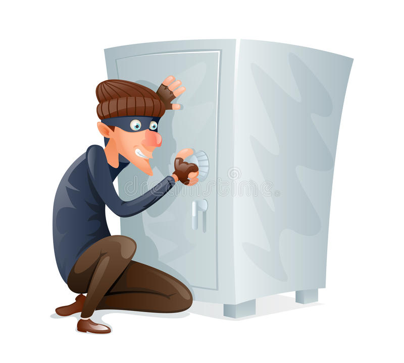 Evil Insidious Cruel Thief Tries to Open Safe Strongbox with Values Steal Character Icon Cartoon Design Vector. Evil Insidious Cruel Thief Tries Open Safe royalty free illustration