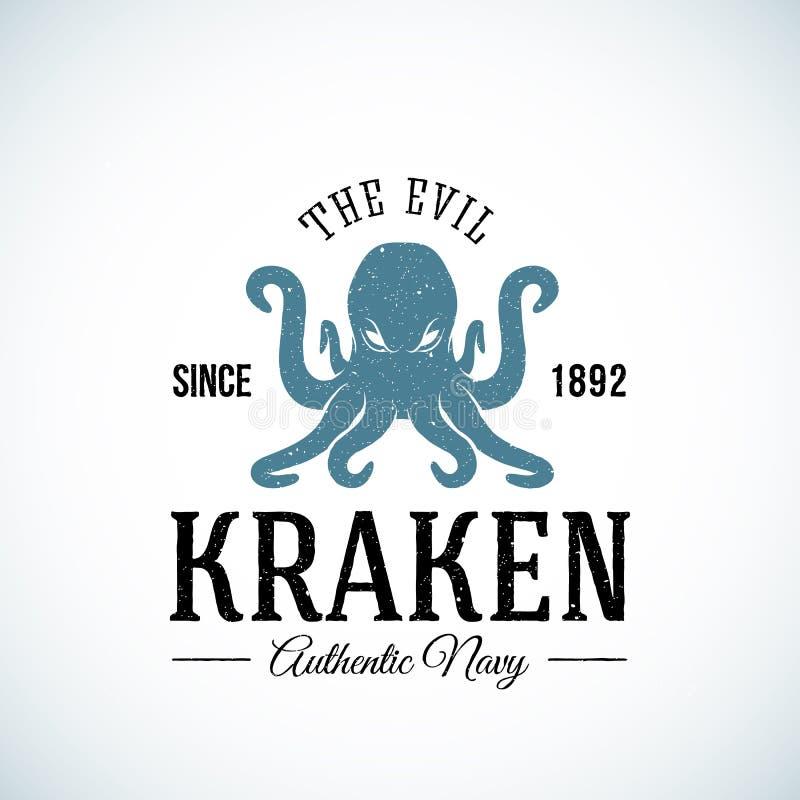 The Evil Kraken Authentic Navy Abstract Vector vector illustration