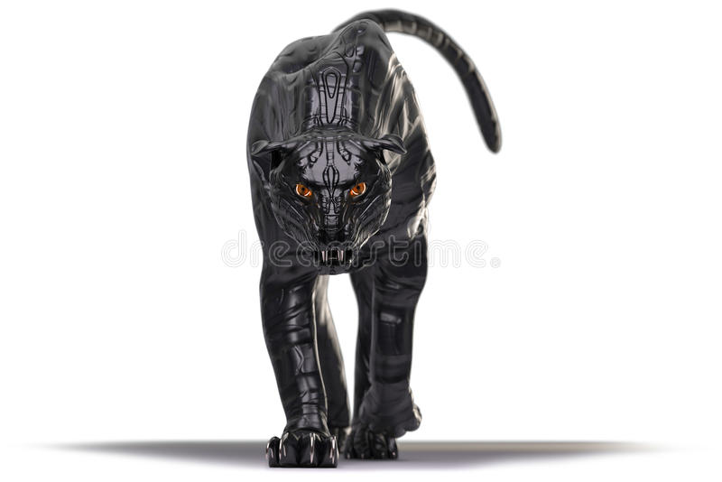Evil looking cyborg black panther with red glowing eyes walking towards camera stock photos