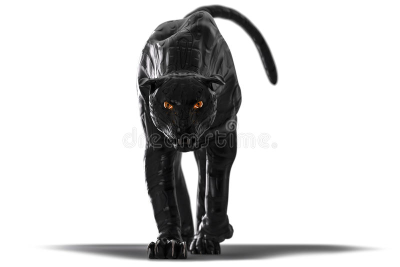 Evil looking cyborg black panther with red glowing eyes walking towards camera royalty free stock photography